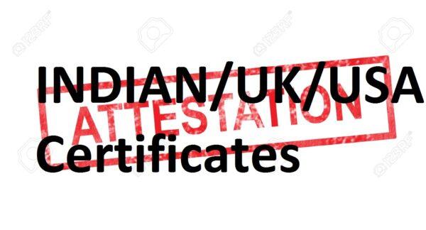 INDIAN/UK/USA certificates